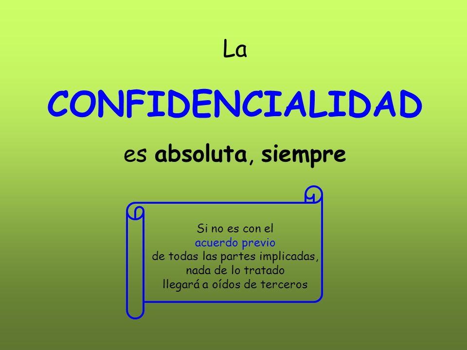 CONFIDENCIALIDAD La es absoluta, siempre