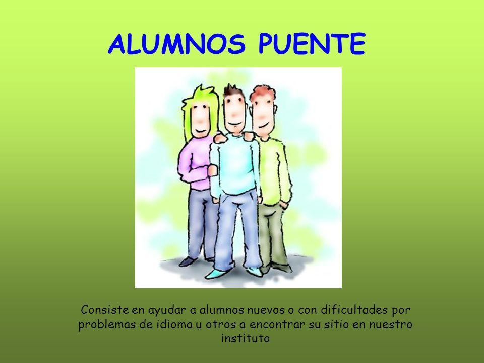 ALUMNOS PUENTE Consiste en ayudar a alumnos nuevos o con dificultades por problemas de idioma u otros a encontrar su sitio en nuestro instituto.