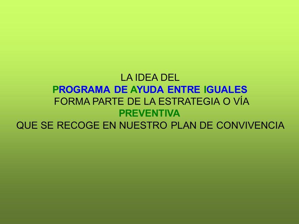 PROGRAMA DE AYUDA ENTRE IGUALES FORMA PARTE DE LA ESTRATEGIA O VÍA