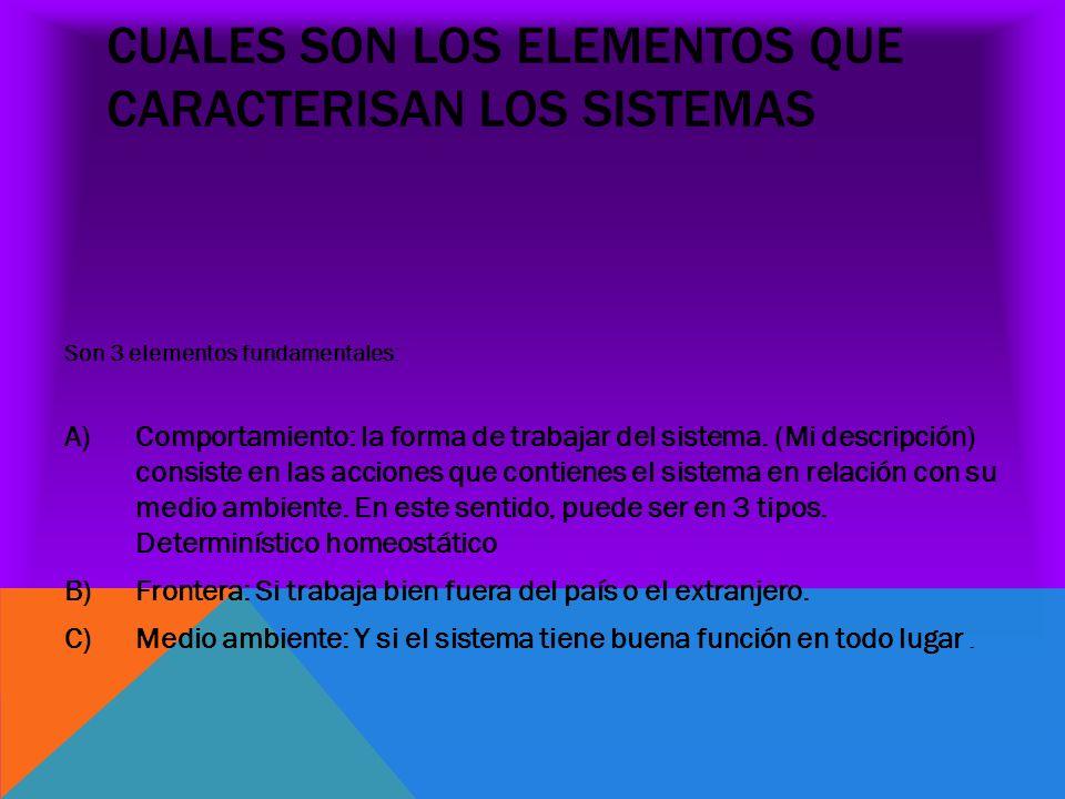 CUALES SON LOS ELEMENTOS QUE CARACTERISAN LOS SISTEMAS