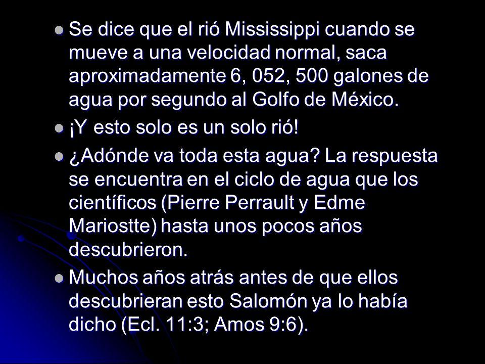 Se dice que el rió Mississippi cuando se mueve a una velocidad normal, saca aproximadamente 6, 052, 500 galones de agua por segundo al Golfo de México.