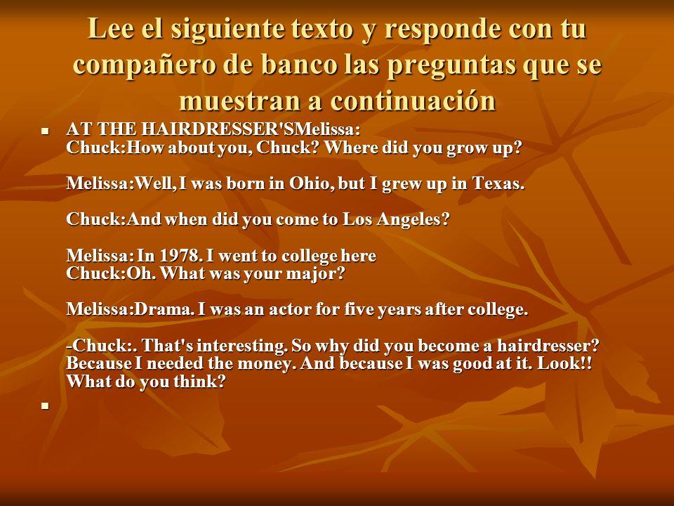 Lee el siguiente texto y responde con tu compañero de banco las preguntas que se muestran a continuación