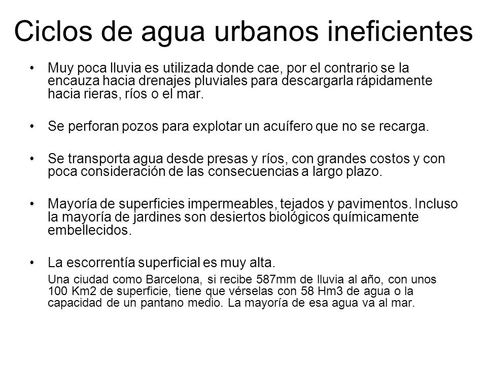 Ciclos de agua urbanos ineficientes