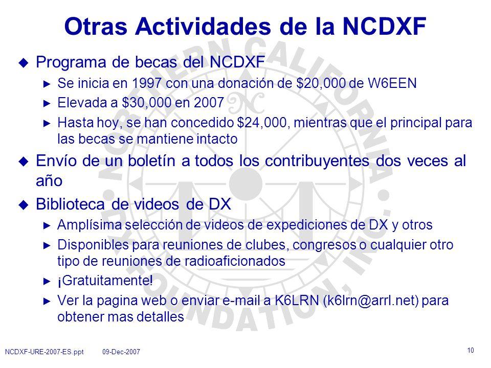 Otras Actividades de la NCDXF