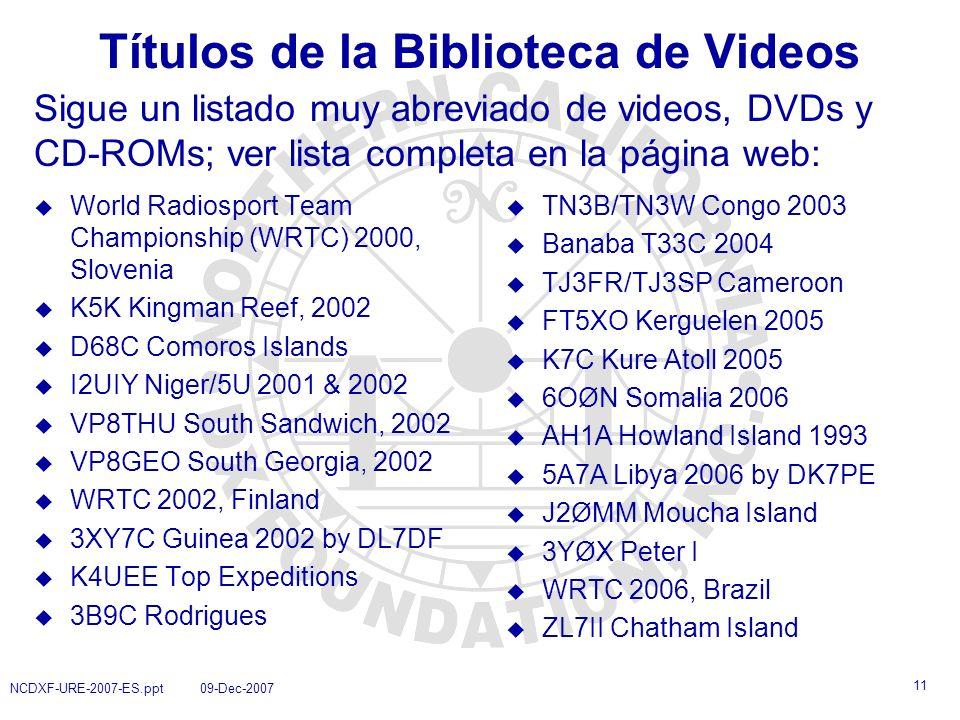 Títulos de la Biblioteca de Videos