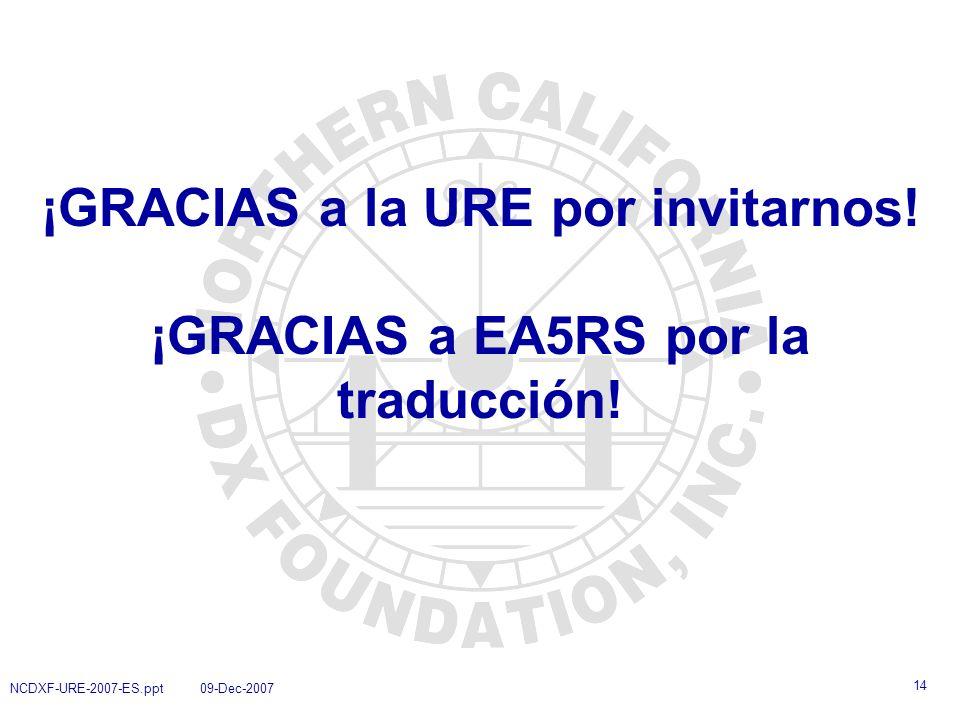 ¡GRACIAS a la URE por invitarnos! ¡GRACIAS a EA5RS por la traducción!