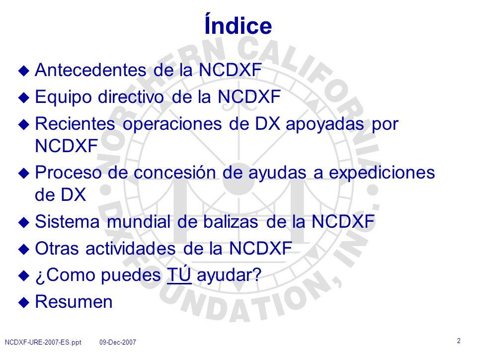 Índice Antecedentes de la NCDXF Equipo directivo de la NCDXF