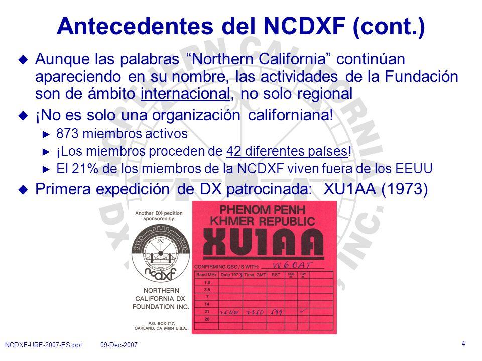 Antecedentes del NCDXF (cont.)