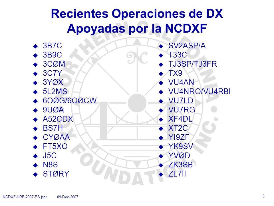 Recientes Operaciones de DX Apoyadas por la NCDXF