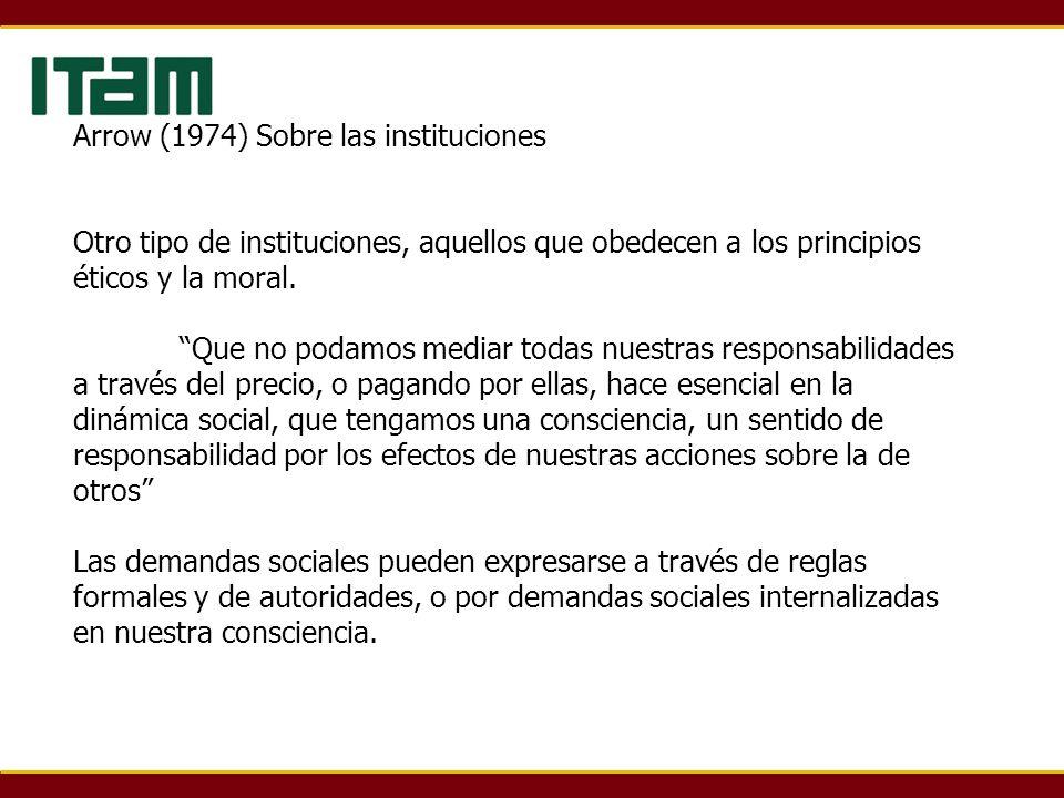 Arrow (1974) Sobre las instituciones Otro tipo de instituciones, aquellos que obedecen a los principios éticos y la moral.