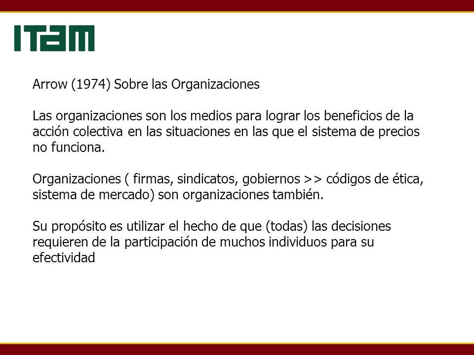 Arrow (1974) Sobre las Organizaciones Las organizaciones son los medios para lograr los beneficios de la acción colectiva en las situaciones en las que el sistema de precios no funciona.
