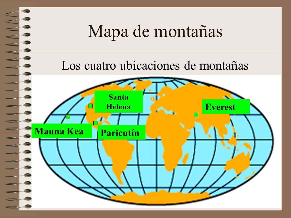 Los cuatro ubicaciones de montañas propuestos