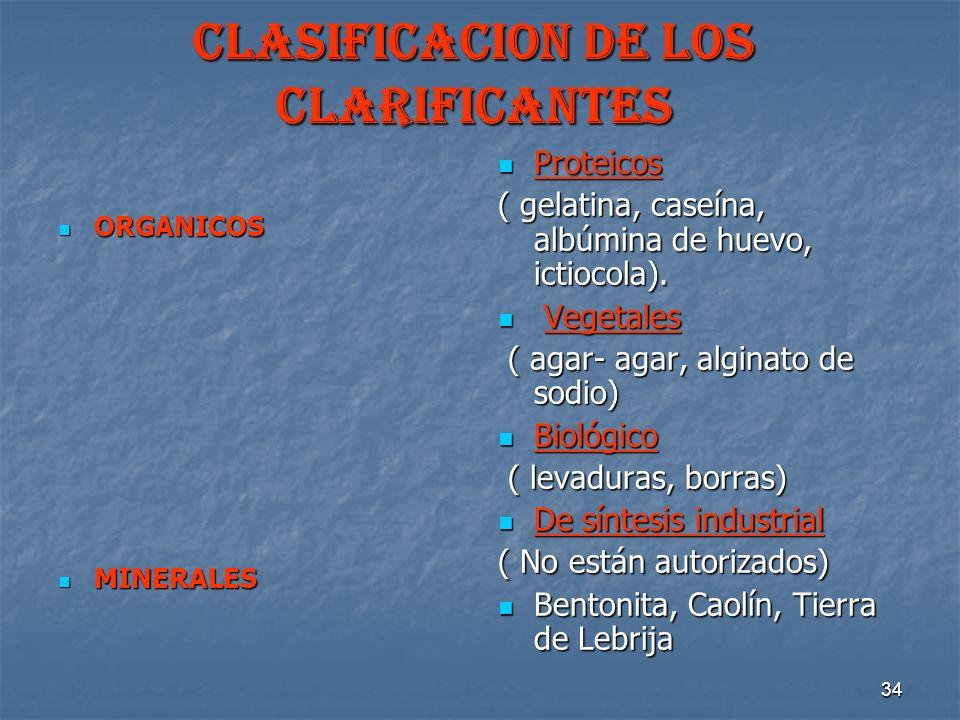 CLASIFICACION DE LOS CLARIFICANTES