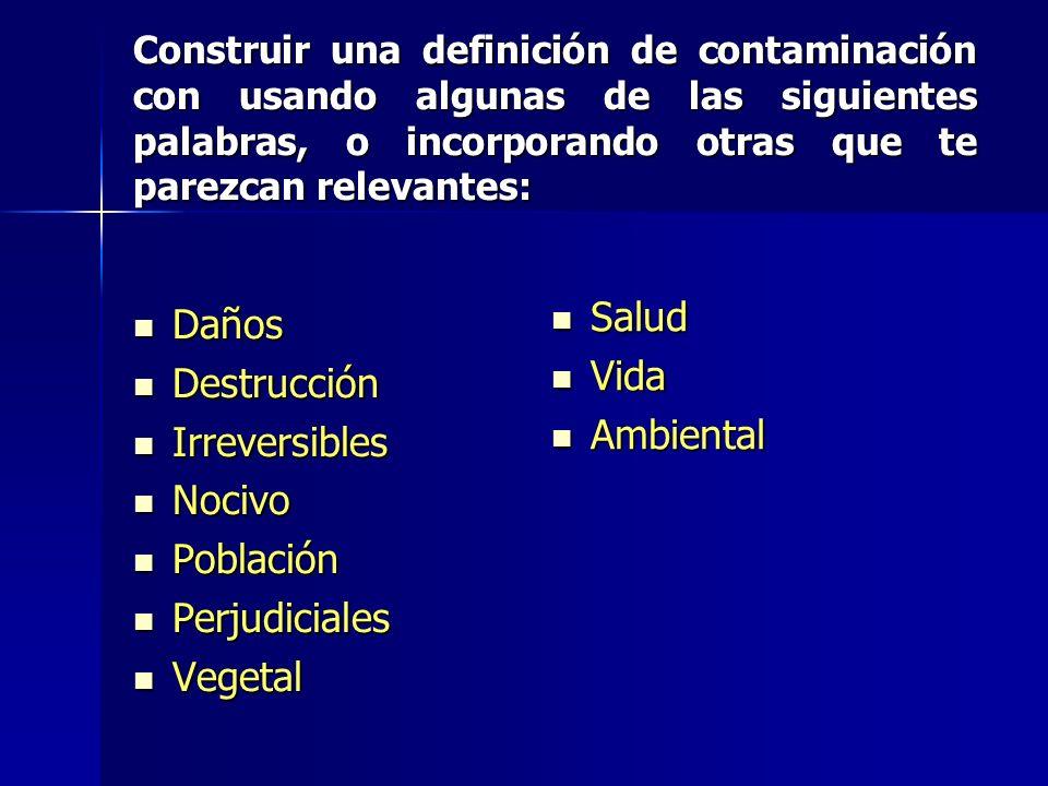 Salud Daños Vida Destrucción Ambiental Irreversibles Nocivo Población
