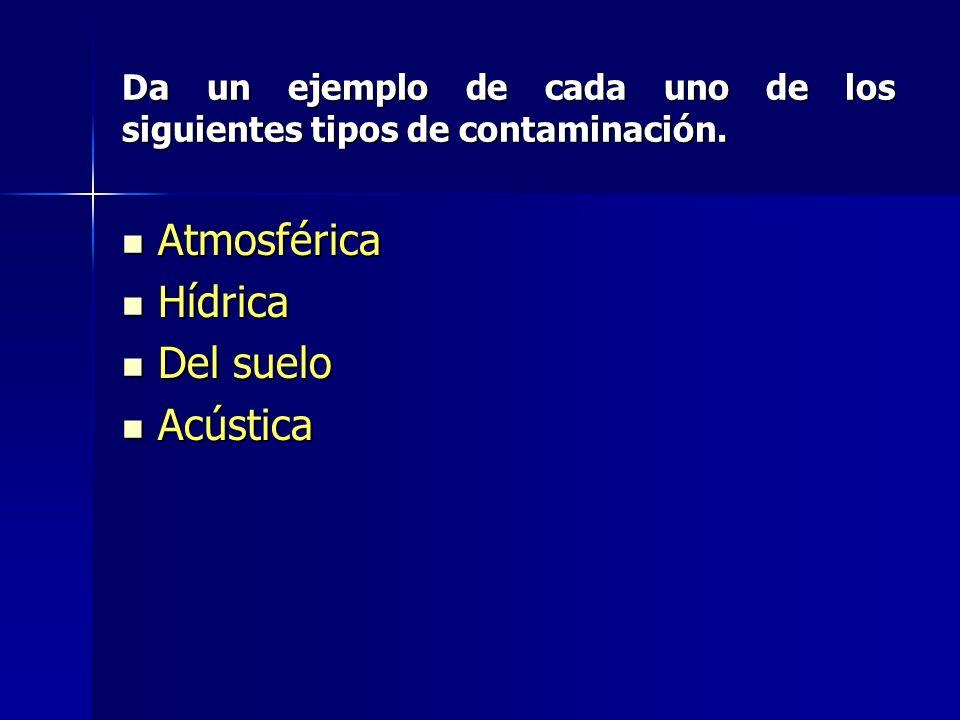 Da un ejemplo de cada uno de los siguientes tipos de contaminación.