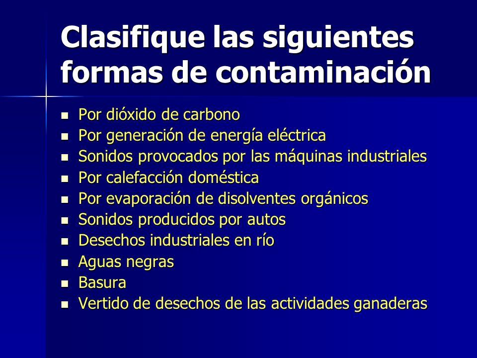 Clasifique las siguientes formas de contaminación
