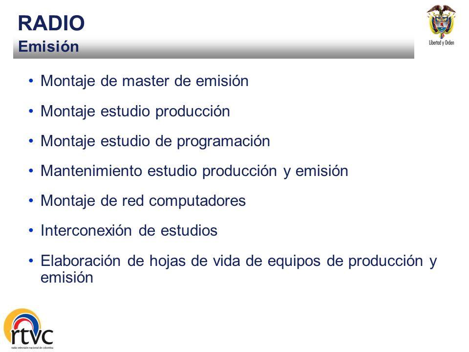 RADIO Emisión Montaje de master de emisión Montaje estudio producción