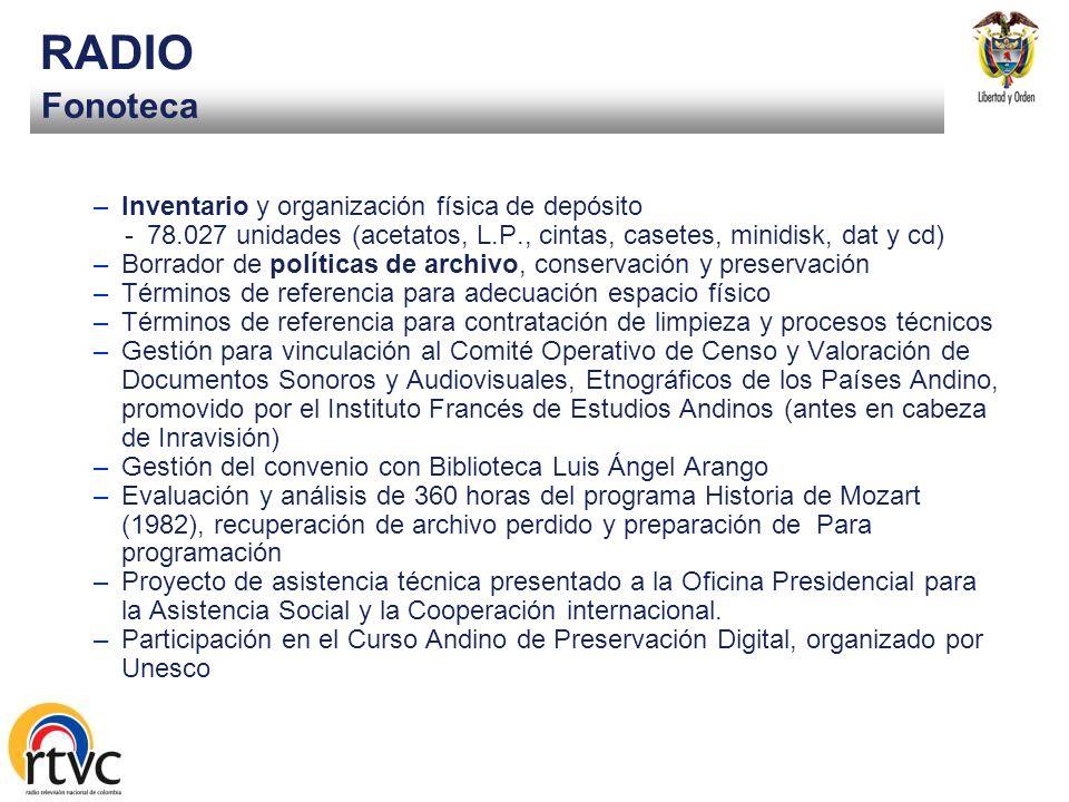 RADIO Fonoteca Inventario y organización física de depósito