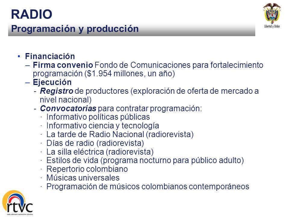 RADIO Programación y producción Financiación