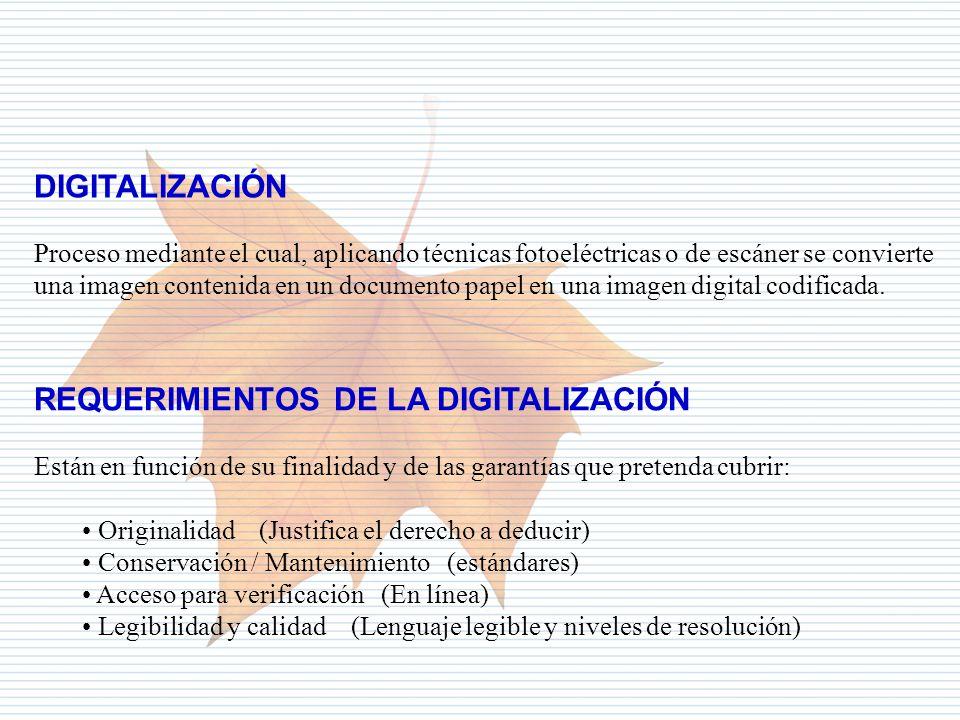 REQUERIMIENTOS DE LA DIGITALIZACIÓN