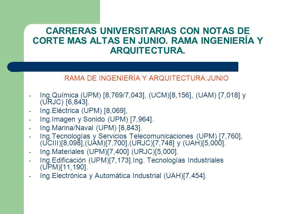 RAMA DE INGENIERÍA Y ARQUITECTURA:JUNIO