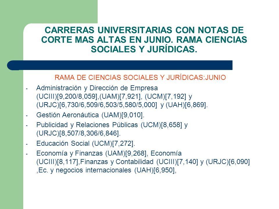 RAMA DE CIENCIAS SOCIALES Y JURÍDICAS:JUNIO