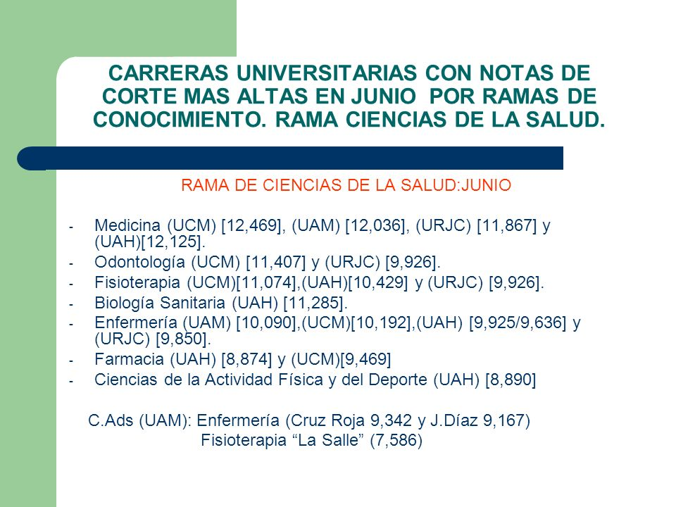 RAMA DE CIENCIAS DE LA SALUD:JUNIO