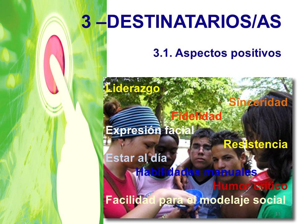 3 –DESTINATARIOS/AS 3.1. Aspectos positivos