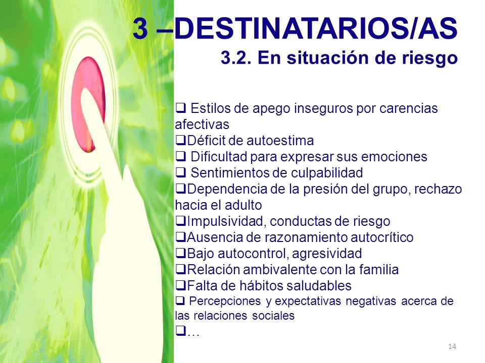 3 –DESTINATARIOS/AS 3.2. En situación de riesgo