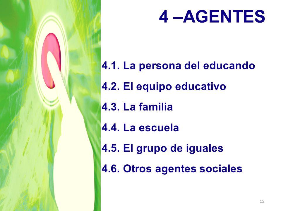 4 –AGENTES 4.1. La persona del educando 4.2. El equipo educativo