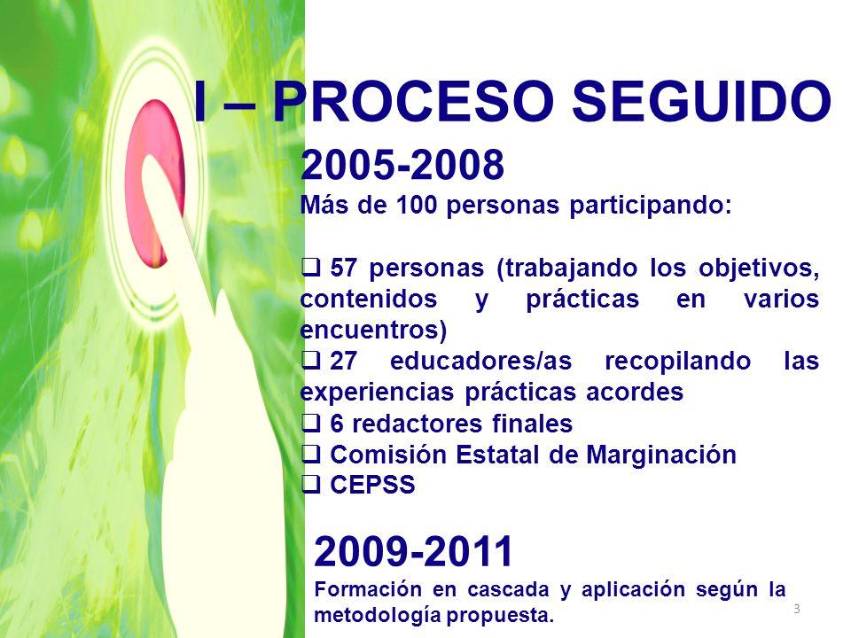 I – PROCESO SEGUIDO2005-2008. Más de 100 personas participando: 57 personas (trabajando los objetivos, contenidos y prácticas en varios encuentros)