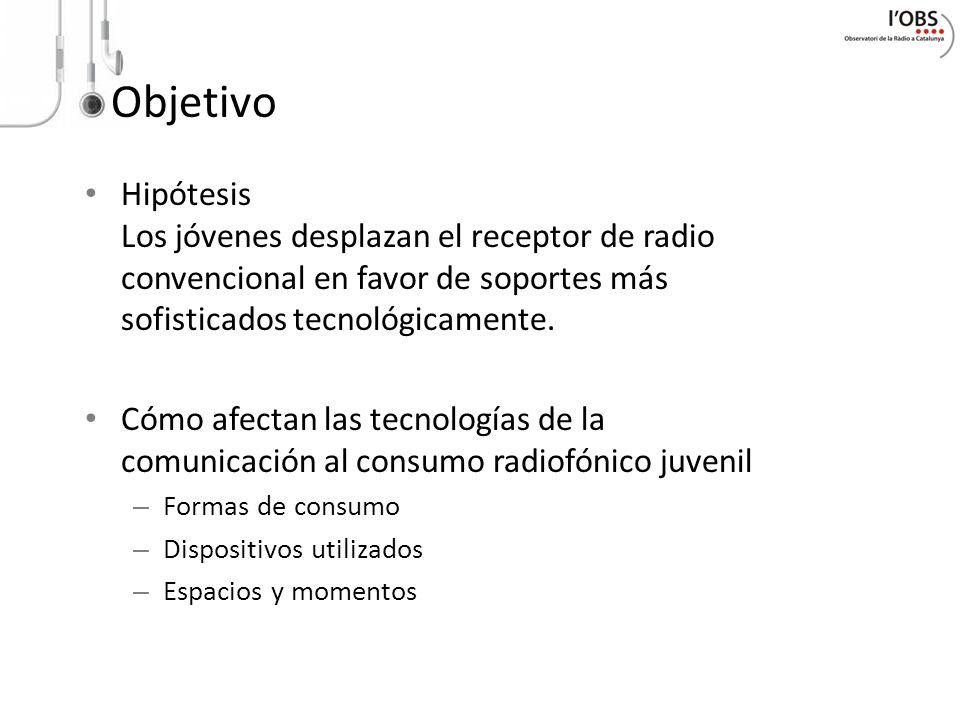 Objetivo Hipótesis Los jóvenes desplazan el receptor de radio convencional en favor de soportes más sofisticados tecnológicamente.