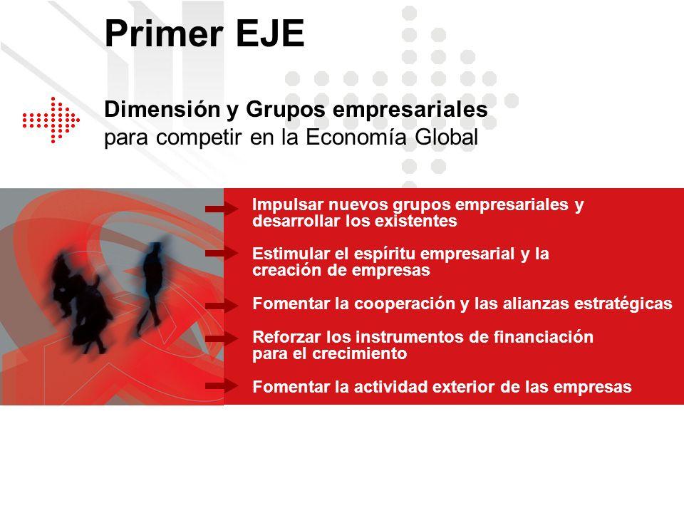 Primer EJE Dimensión y Grupos empresariales para competir en la Economía Global. Impulsar nuevos grupos empresariales y desarrollar los existentes.