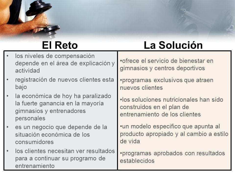 El Reto La Solución. los niveles de compensación depende en el área de explicación y actividad. registración de nuevos clientes esta bajo.