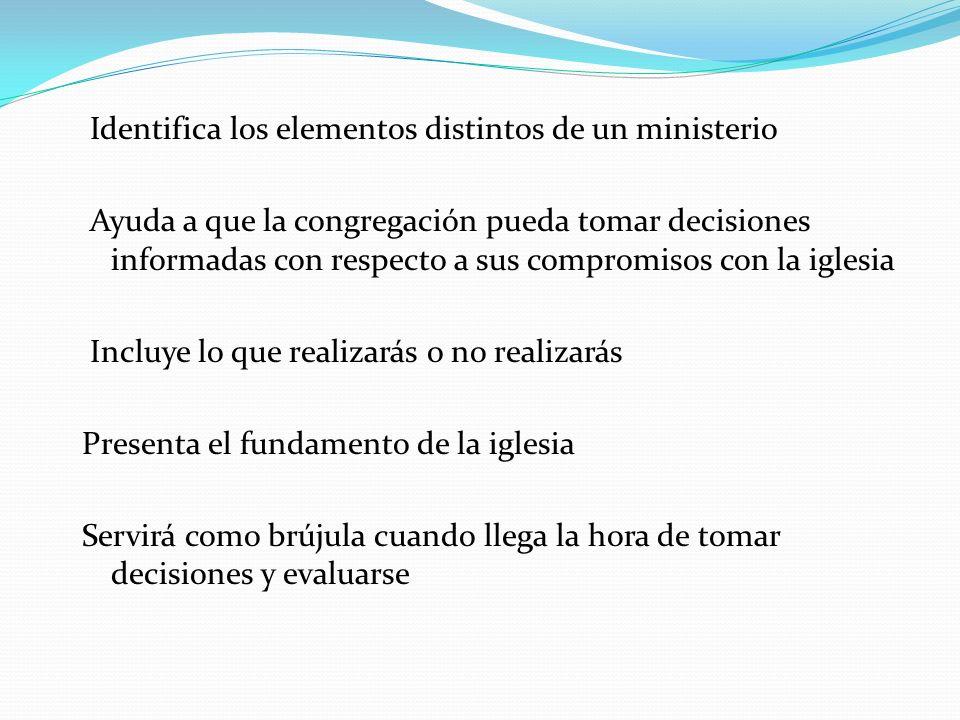 Identifica los elementos distintos de un ministerio