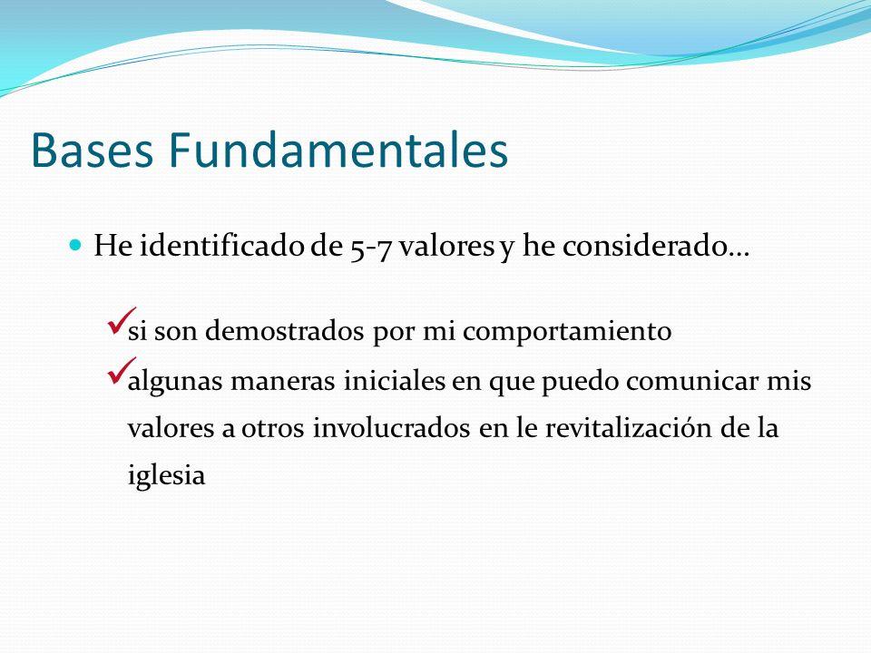 Bases Fundamentales He identificado de 5-7 valores y he considerado…