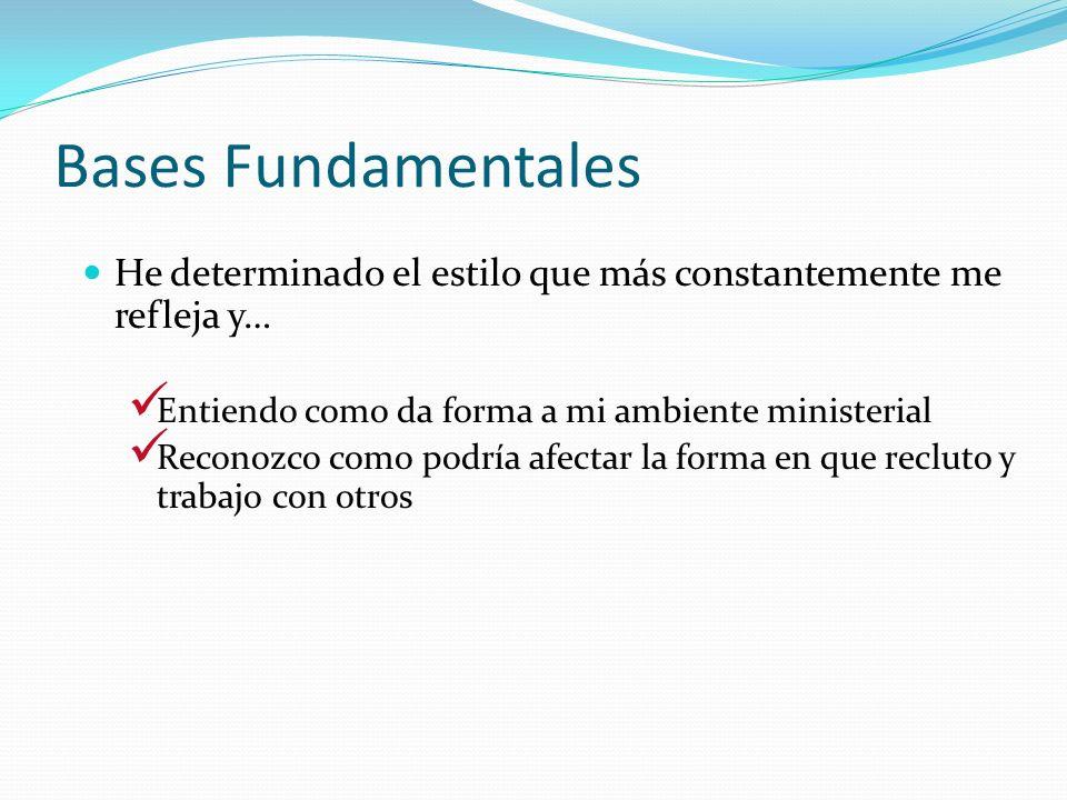 Bases Fundamentales He determinado el estilo que más constantemente me refleja y… Entiendo como da forma a mi ambiente ministerial.