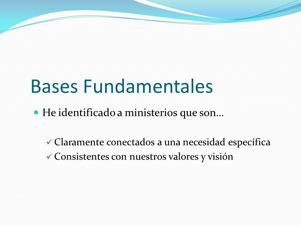 Bases Fundamentales He identificado a ministerios que son…