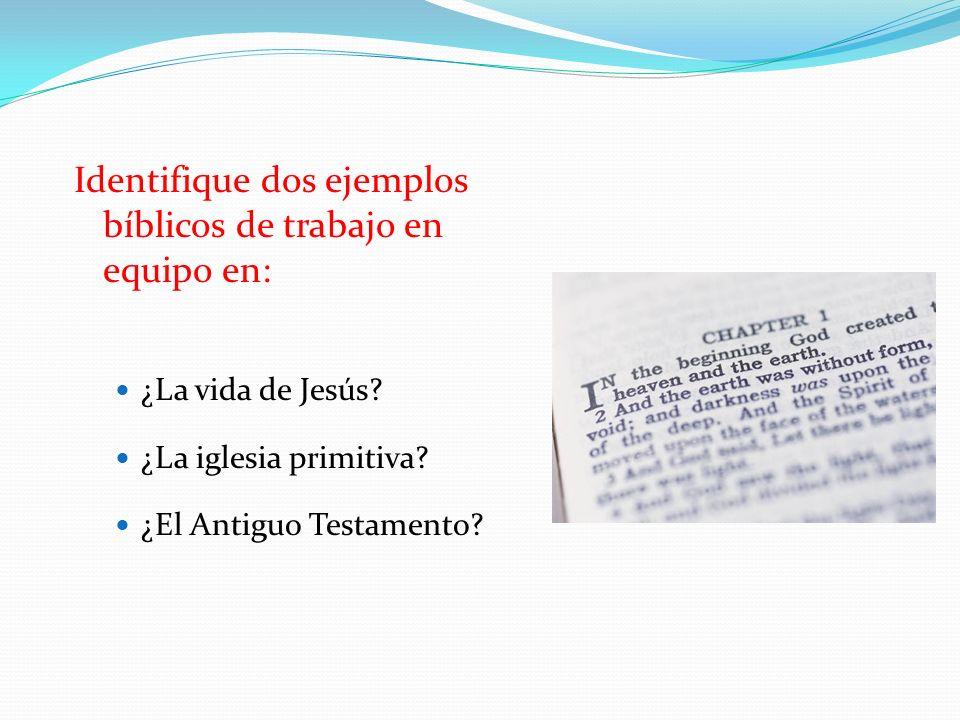Identifique dos ejemplos bíblicos de trabajo en equipo en: