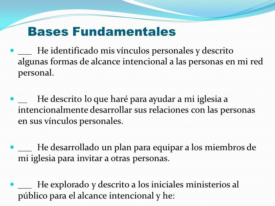 Bases Fundamentales ___ He identificado mis vínculos personales y descrito algunas formas de alcance intencional a las personas en mi red personal.