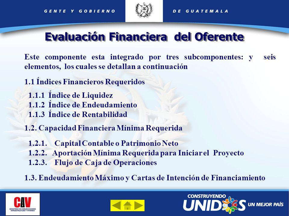 Evaluación Financiera del Oferente