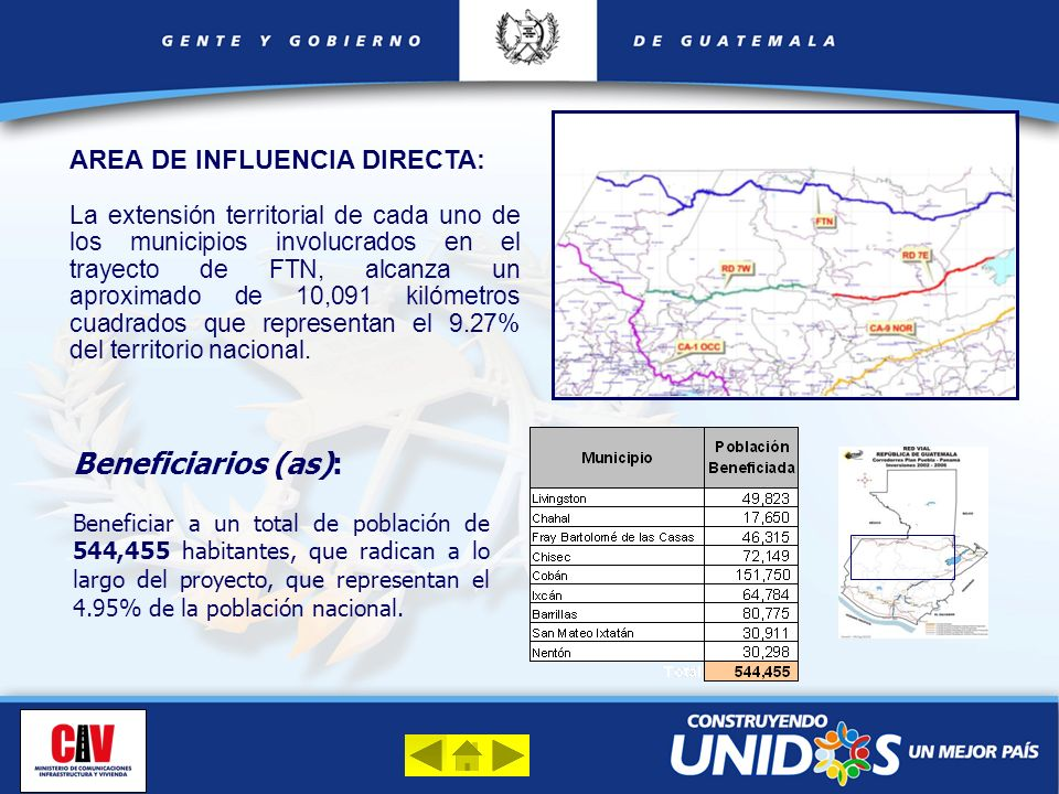 Beneficiarios (as): AREA DE INFLUENCIA DIRECTA: