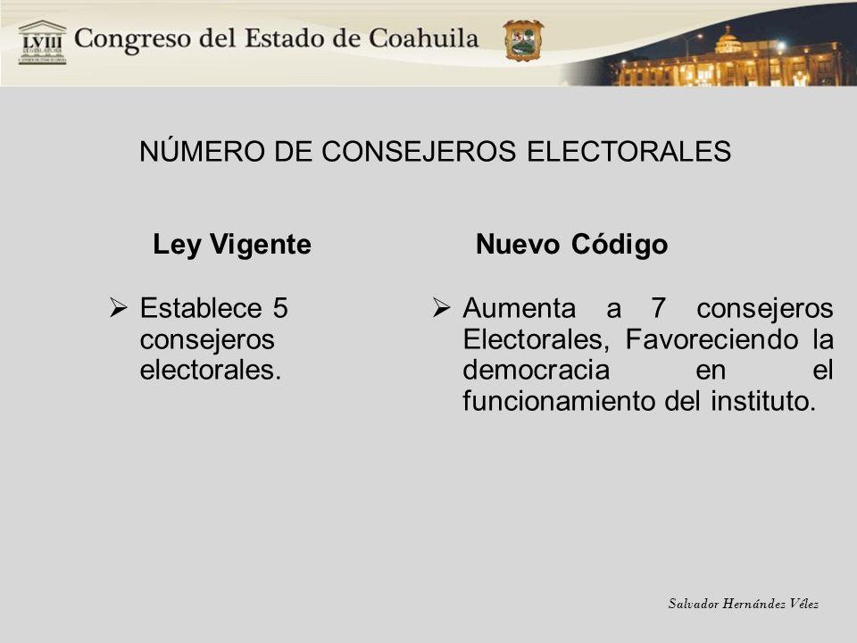 NÚMERO DE CONSEJEROS ELECTORALES