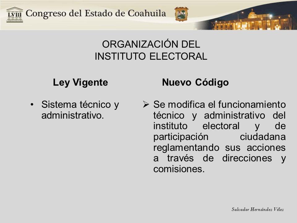 ORGANIZACIÓN DEL INSTITUTO ELECTORAL