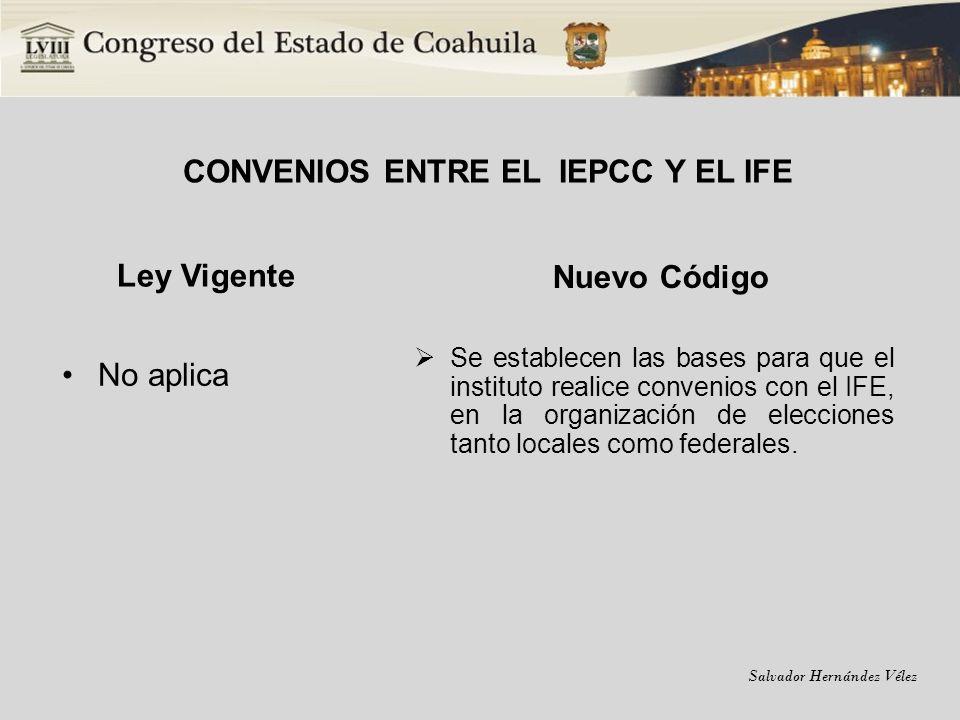CONVENIOS ENTRE EL IEPCC Y EL IFE