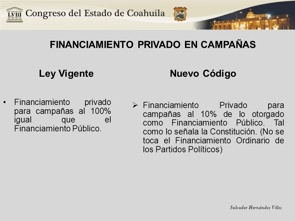 FINANCIAMIENTO PRIVADO EN CAMPAÑAS