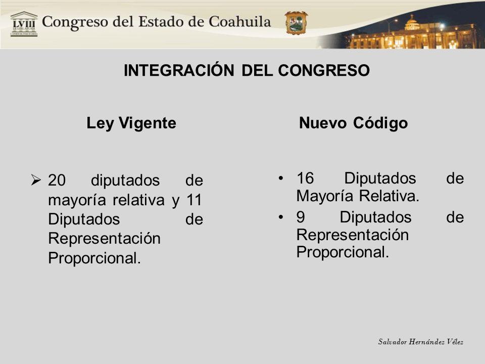 INTEGRACIÓN DEL CONGRESO