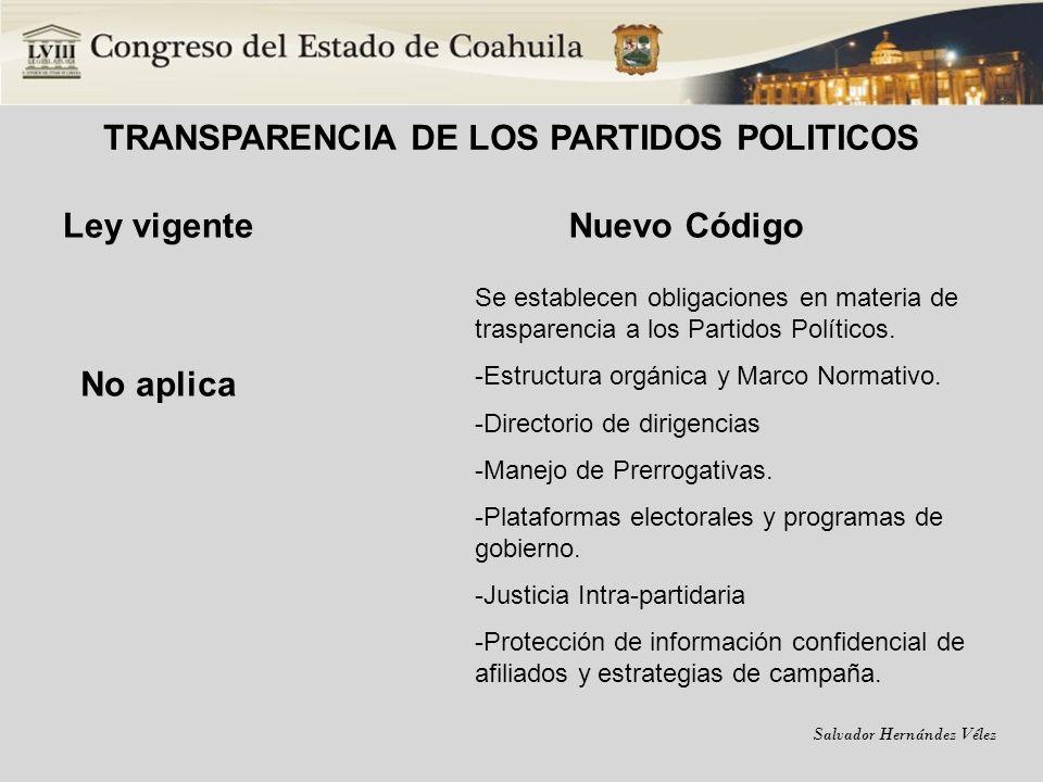 TRANSPARENCIA DE LOS PARTIDOS POLITICOS