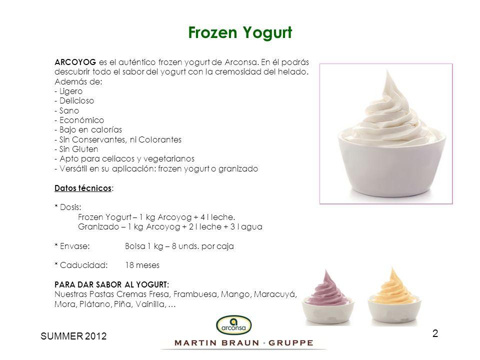 Frozen YogurtARCOYOG es el auténtico frozen yogurt de Arconsa. En él podrás. descubrir todo el sabor del yogurt con la cremosidad del helado.