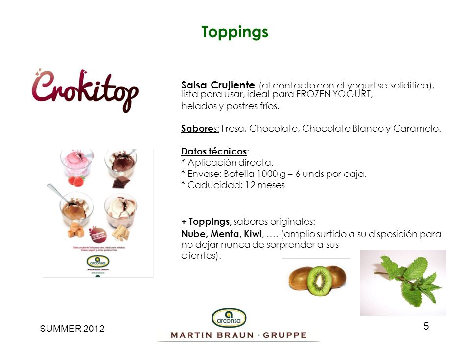 Toppings Salsa Crujiente (al contacto con el yogurt se solidifica), lista para usar, ideal para FROZEN YOGURT,